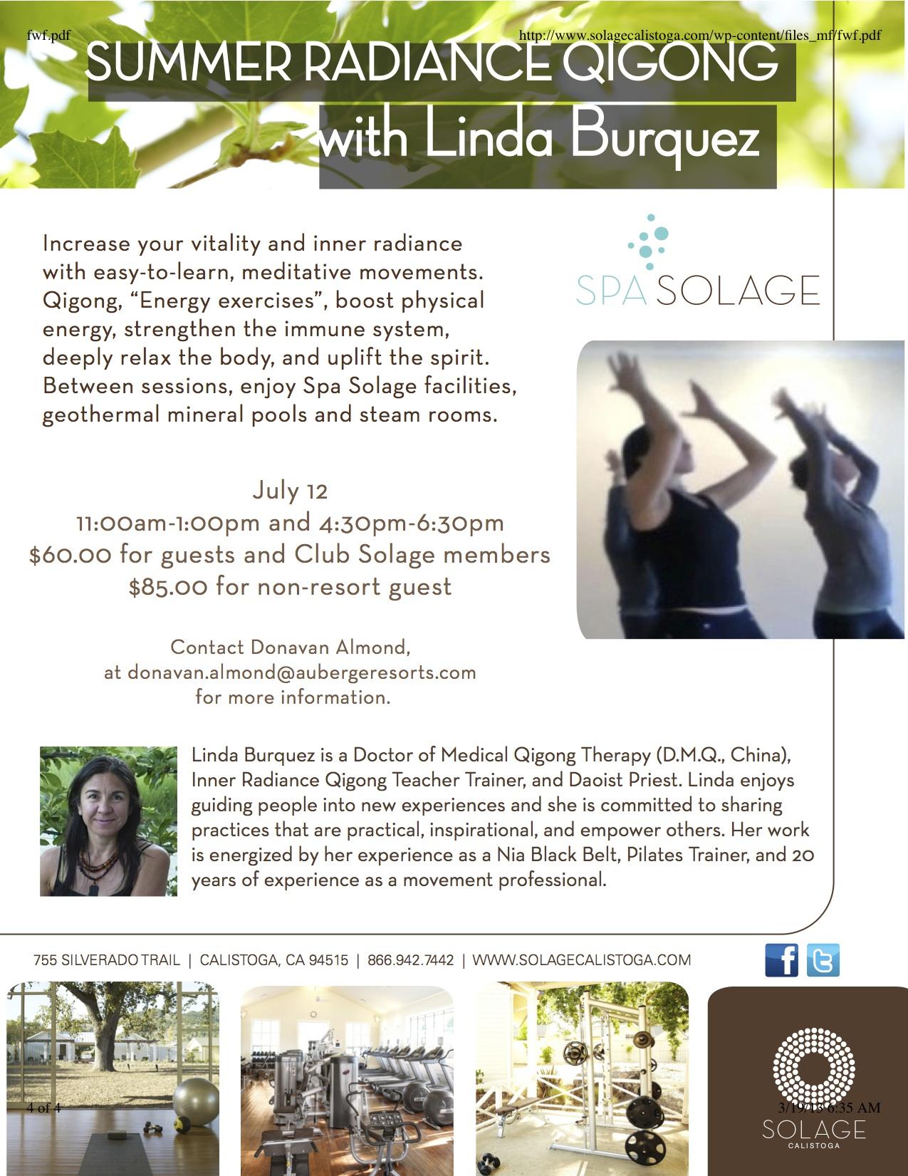 Linda Burquez Qigong Training Spa Solage
